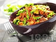 Рецепта Телешки гювеч с гъби печурки, чушки и бял ориз на фурна